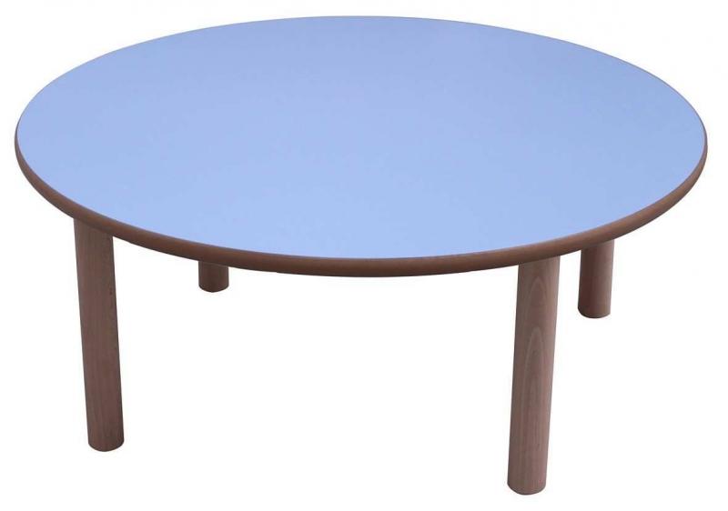 Mesa escolar redonda madera 120 cm mobeduc segurbaby for Mesas redondas de madera