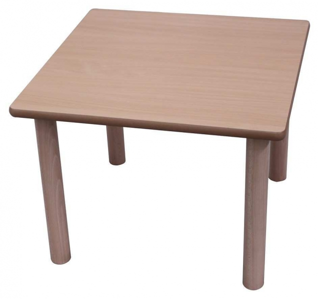 Mesa escolar cuadrada madera 80x80 cm mobeduc segurbaby for Mesas cuadradas extensibles de madera