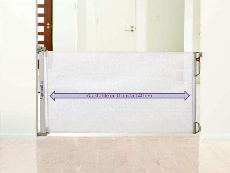 Barrera seguridad enrollable 140 cm blanca segurbaby - Barreras seguridad escaleras ...
