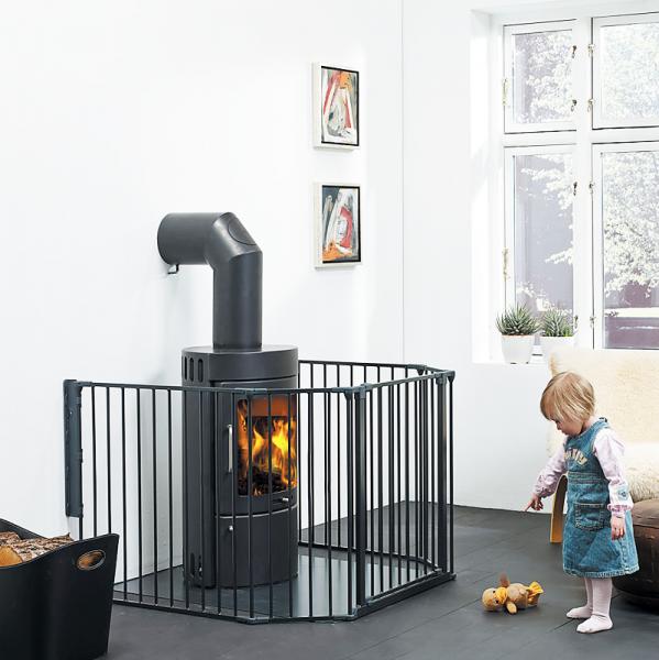 Barrera para beb s modular flex l negra babydan segurbaby - Protector chimenea ninos ...
