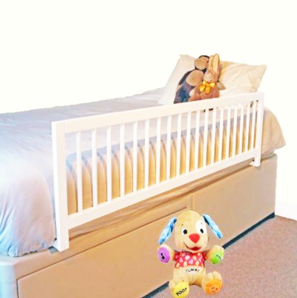 Barrera de cama extra larga en madera blanca segurbaby - Camas en l para ninos ...