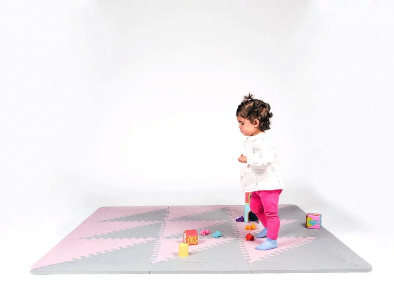 Alfombra de juegos rosa gris l babymats segurbaby - Alfombra suelo bebe ...