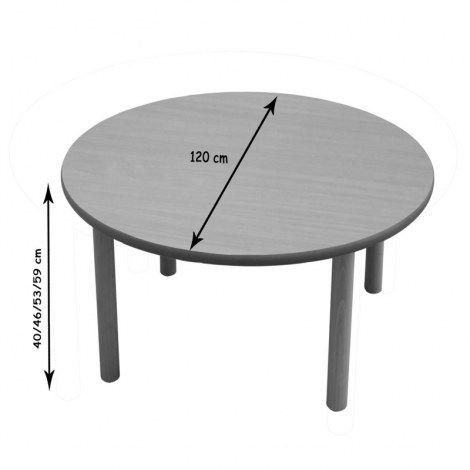 Mesa escolar redonda madera 120 cm mobeduc segurbaby for Mesa redonda infantil