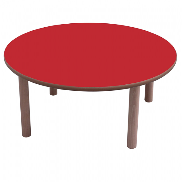 Mesa escolar redonda madera 80 cm mobeduc segurbaby for Mesa redonda infantil