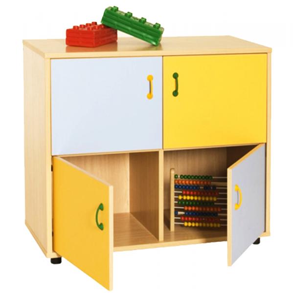 Mueble escolar bajo armario 4 casillas y 4 puertas - Patas para armarios ...